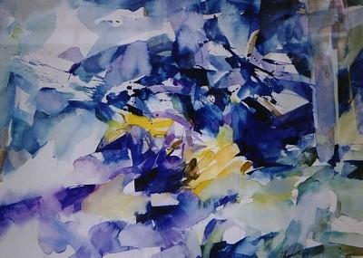 油画风景抽象蓝色调